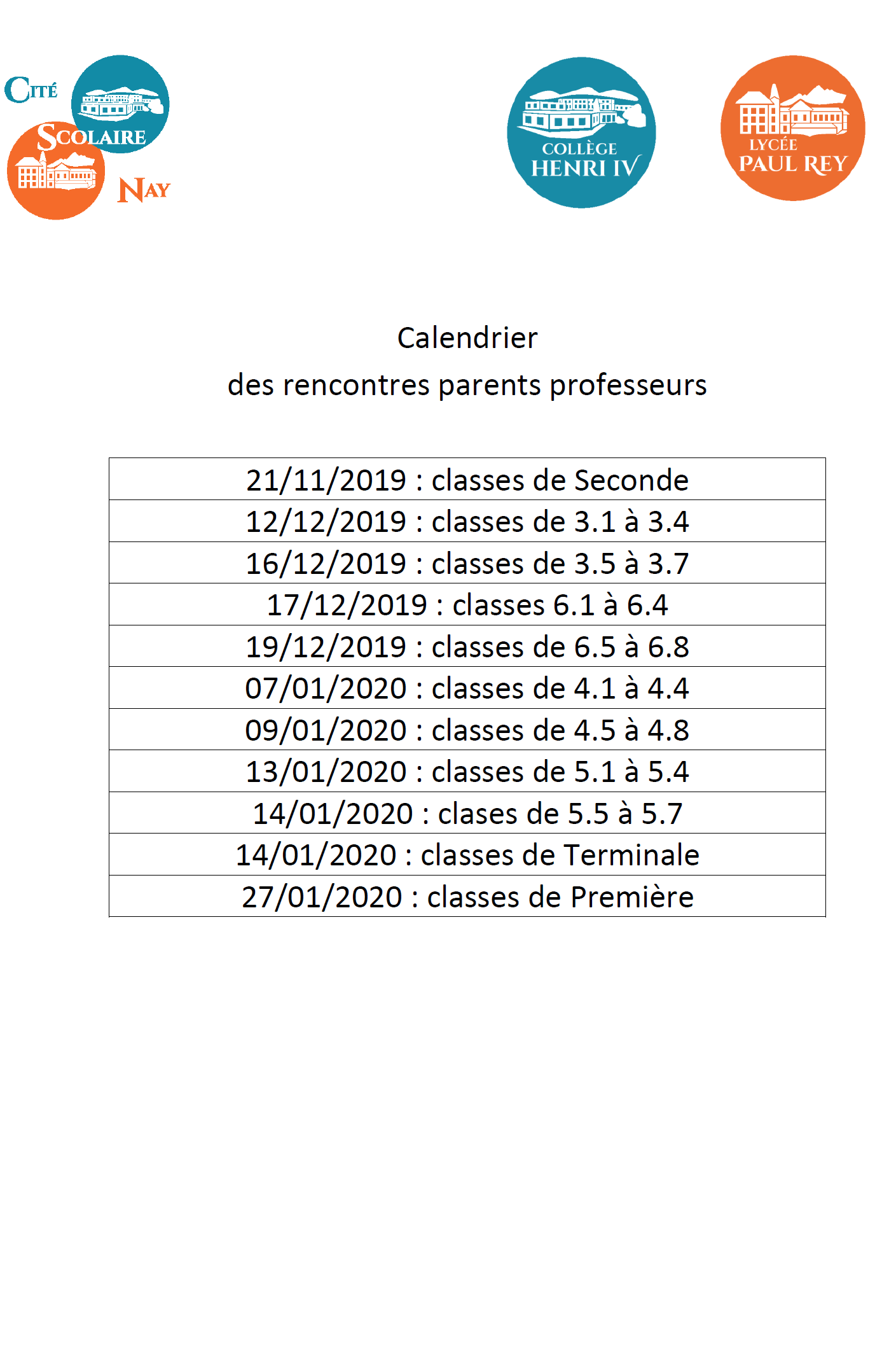 Calendrier Uppa.Cite Scolaire De Nay College Henri Iv Et Lycee Paul Rey 64